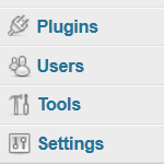 The menu items in the lower half of the Admin Panel, open to Administrators