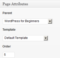 Page Attributes section of WordPress page editor.