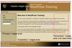 Screenshot showing the main widget-ready areas in the WF College One Pro theme.