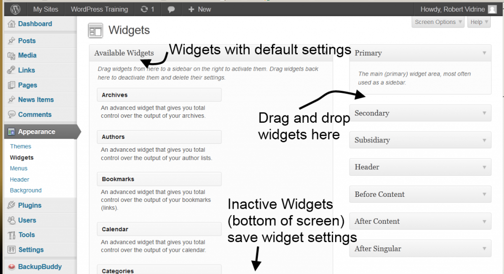 The Widgets panel from the WordPress Training site